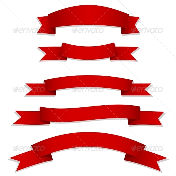 GraphicRiver Red Ribbons Flags 5571848