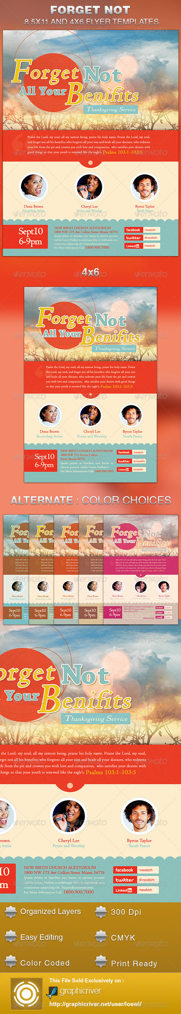 Forget Not All Your Benefits Church Flyer Template - Church Flyers