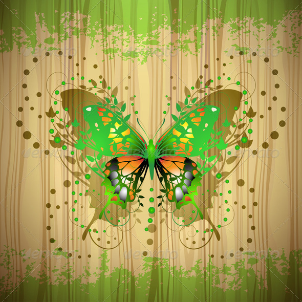 GraphicRiver Butterfly over Wood 5576239