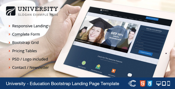 University Responsive Bootstrap Landing Template - Marketing Corporate