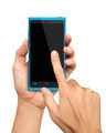 Hand holding and Touch on Blue Smartphone - PhotoDune Item for Sale