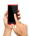 Hand holding and Touch on Red Smartphone - PhotoDune Item for Sale