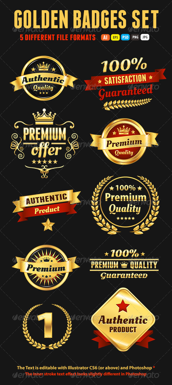 GraphicRiver Set Of Golden Premium Badges 5579906