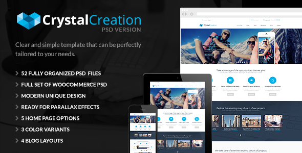 ThemeForest CrystalCreation Multi Purpose PSD Template 5580276
