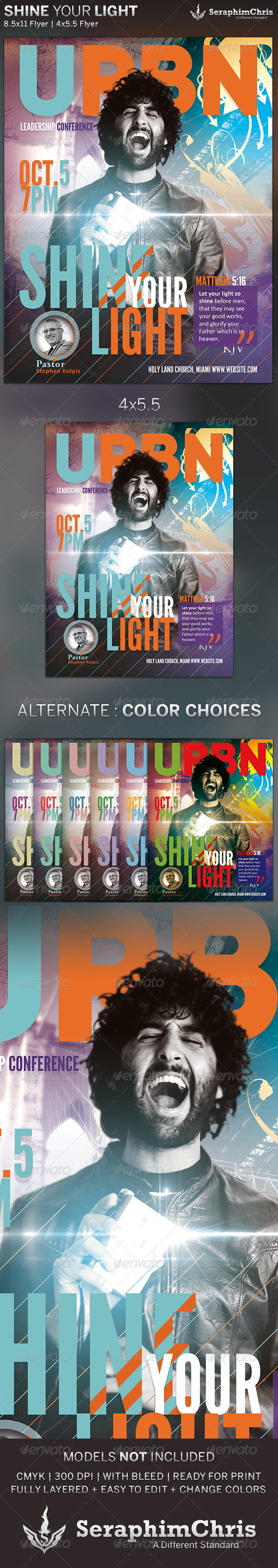 GraphicRiver Shine Your Light Church Flyer Template 5580488