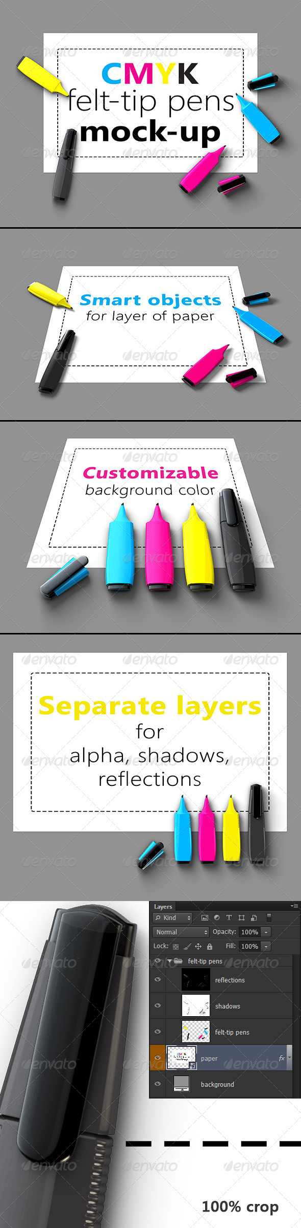GraphicRiver CMYK Felt-tip Pens Mock-Up 5531585