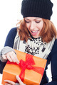 Exited woman opening present - PhotoDune Item for Sale