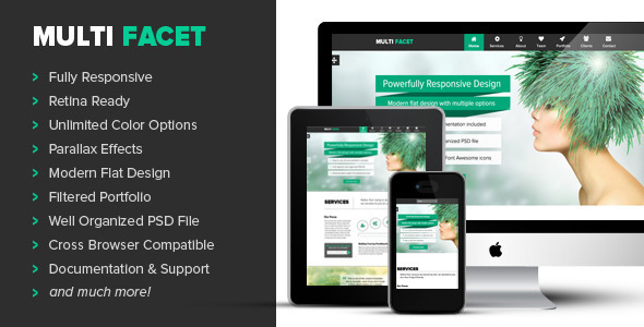ThemeForest MultiFacet Responsive One Page Template 5554310