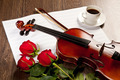 Red roses and a violin - PhotoDune Item for Sale