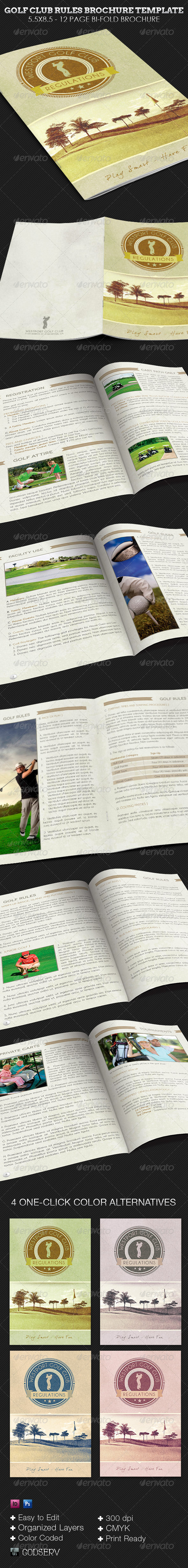 Golf Club Rules Brochure Template - Print Templates