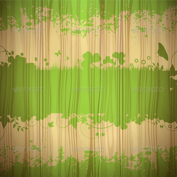 GraphicRiver Green Background Over Wood 5586685
