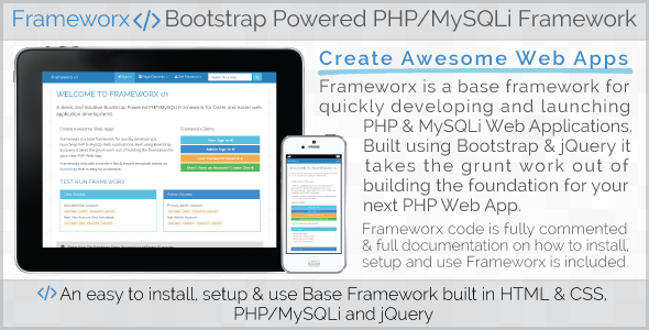 Frameworx - Bootstrap Powered PHP MySQLi Framework - CodeCanyon Item for Sale