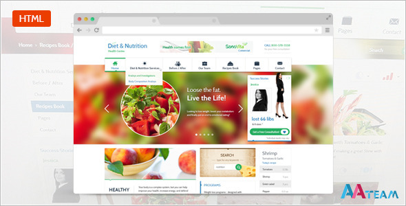 Diet & Nutrition Health Center - Responsive HTML5 - Health & Beauty Retail