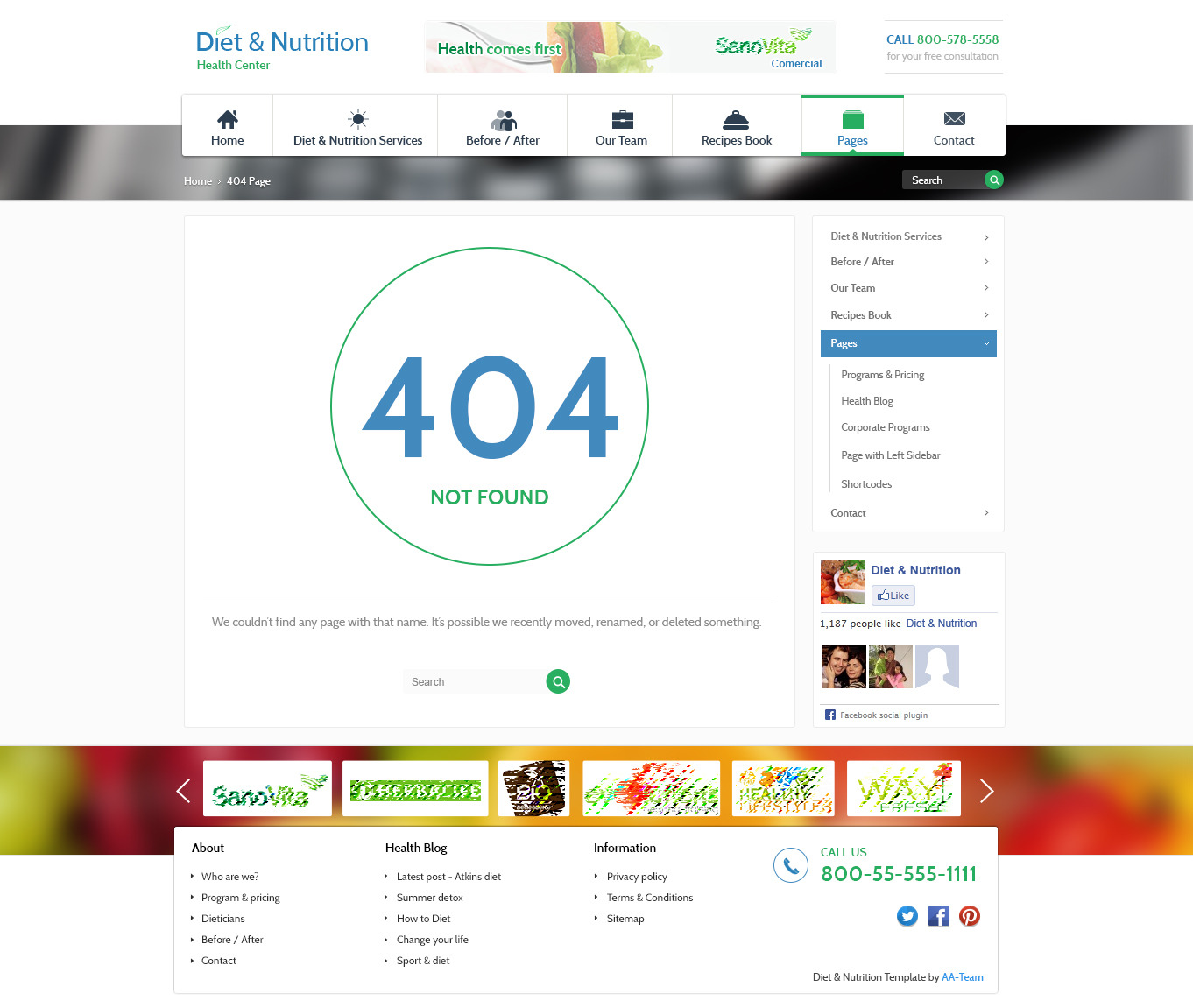 Diet & Nutrition Health Center - Responsive HTML5