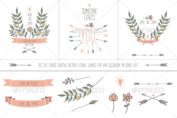 GraphicRiver Retro Floral Cards for Any Occasion 5586092