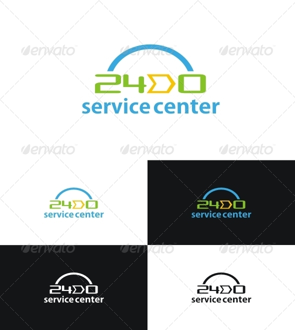 Twenty-four-hour Service - Numbers Logo Templates