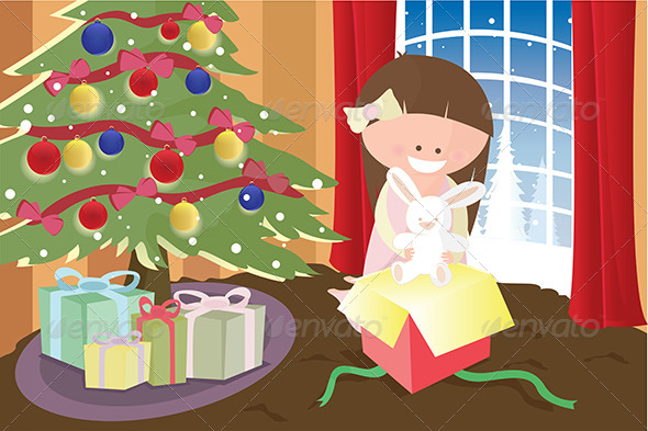 GraphicRiver Girl Opening Christmas Present 5591669