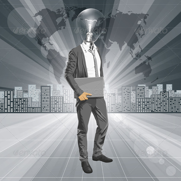 GraphicRiver Lamp Head Man with Laptop 5593911