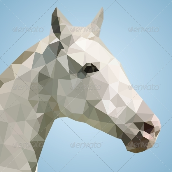 GraphicRiver Head of a White Horse in Triangular Style 5594202