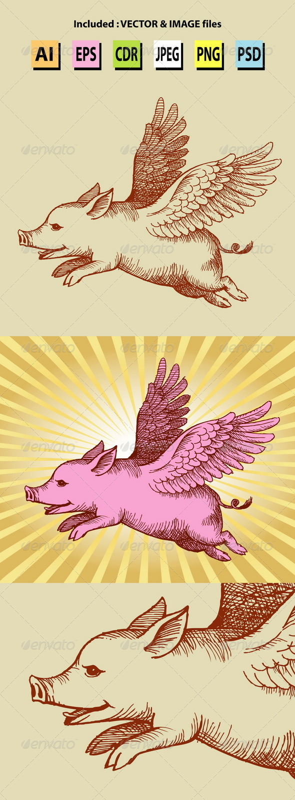 Angel Pig Illustration - Animals Characters
