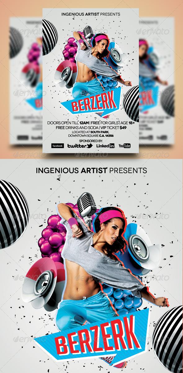 Berzerk Party Flyer - Print Templates