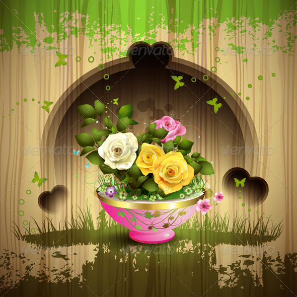 GraphicRiver Flowerpot with Roses 5595609