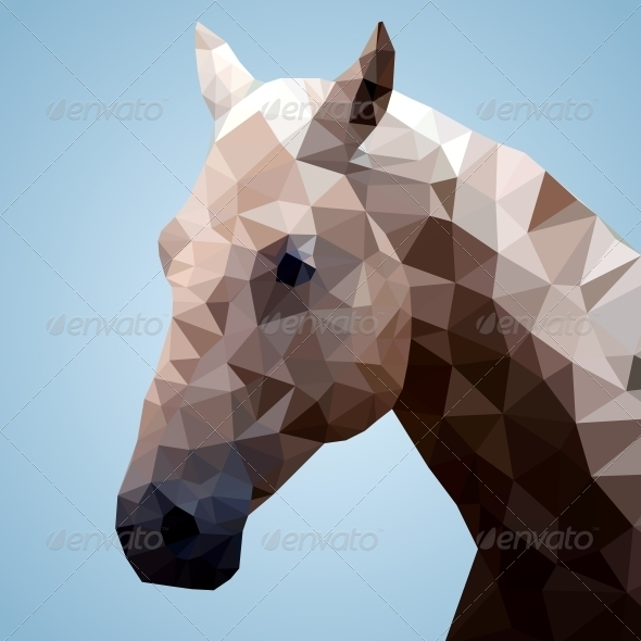 GraphicRiver Head of a Bay Horse in Triangular Style 5595612