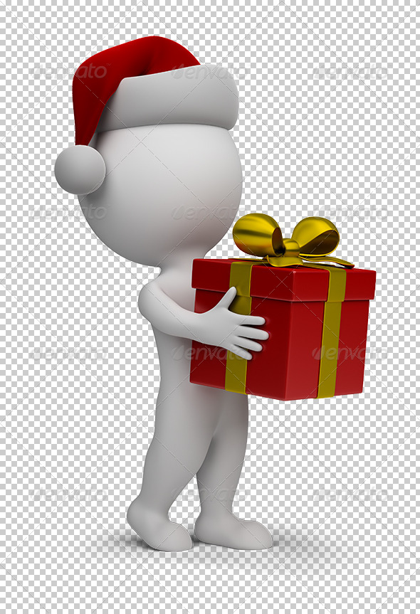GraphicRiver 3D Small People Santa with a Gift 5595805