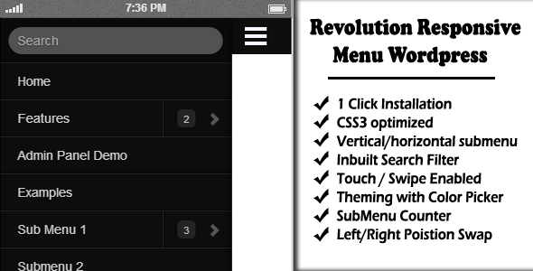 Revolution Responsive Menu WordPress - CodeCanyon Item for Sale