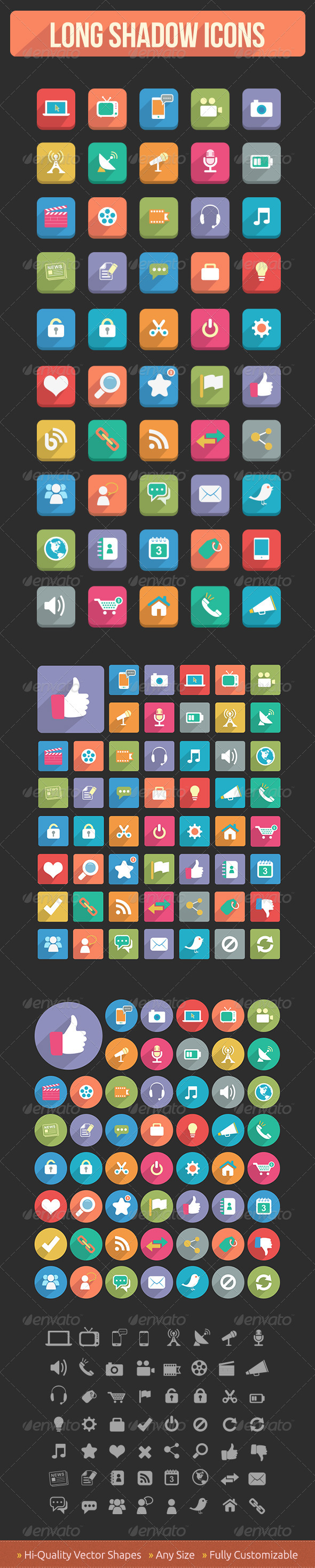 Flat Media & Communication Icons - Icons