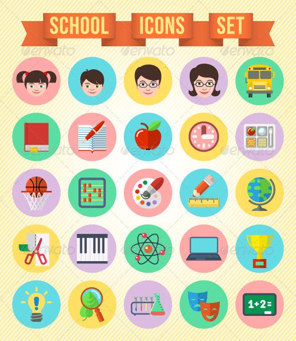GraphicRiver Flat School Icons Set 5601209
