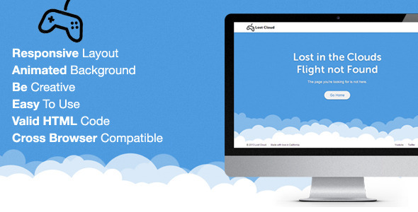 ThemeForest Lost Responsive 404 Error Template 5532532