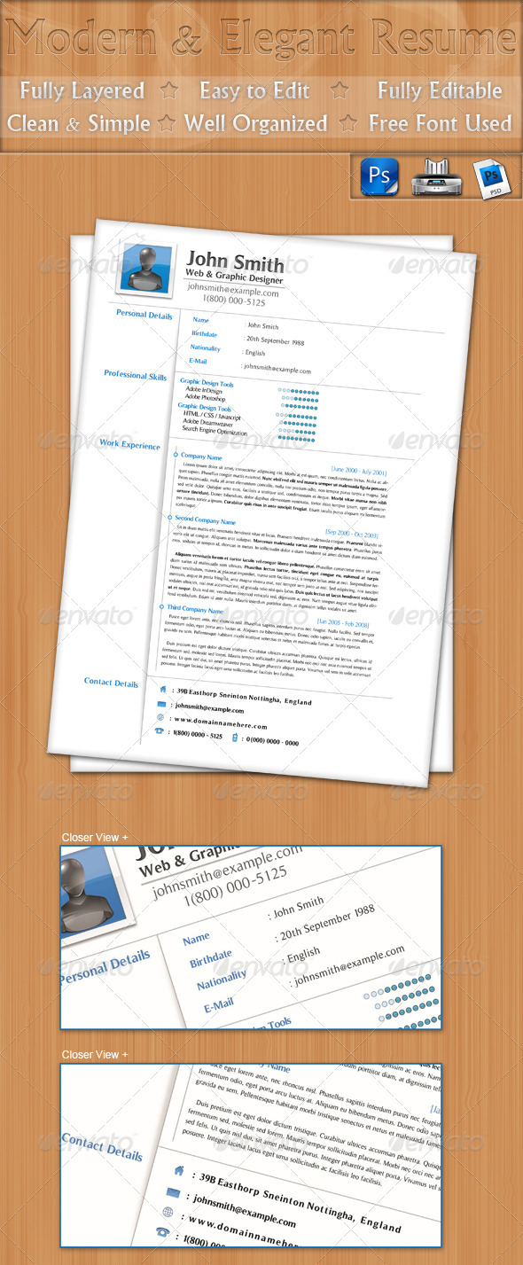 Modern &amp; Elegant Resume - Resumes Stationery