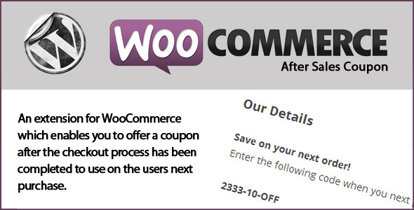 WooCommerce After Sales Coupon - CodeCanyon Item for Sale