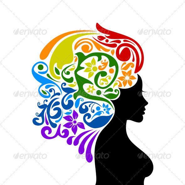 GraphicRiver Woman with Floral Rainbow Hair 5604494