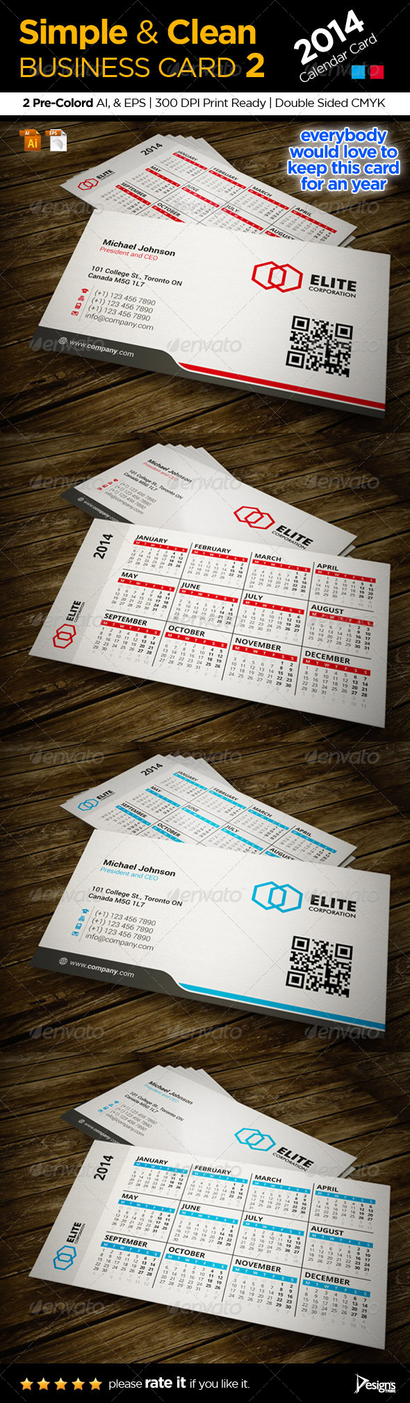 Calendar 2014 Business Card - Corporate Business Cards