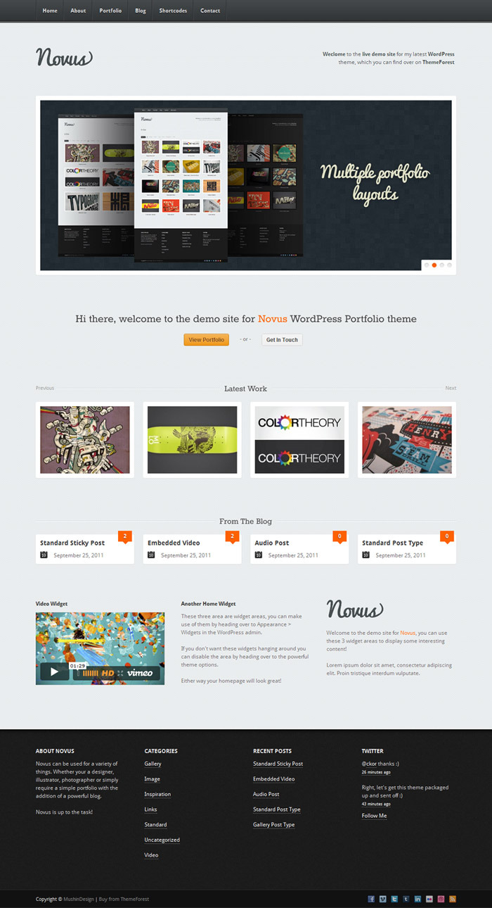 Novus - WordPress Portfolio - Home light