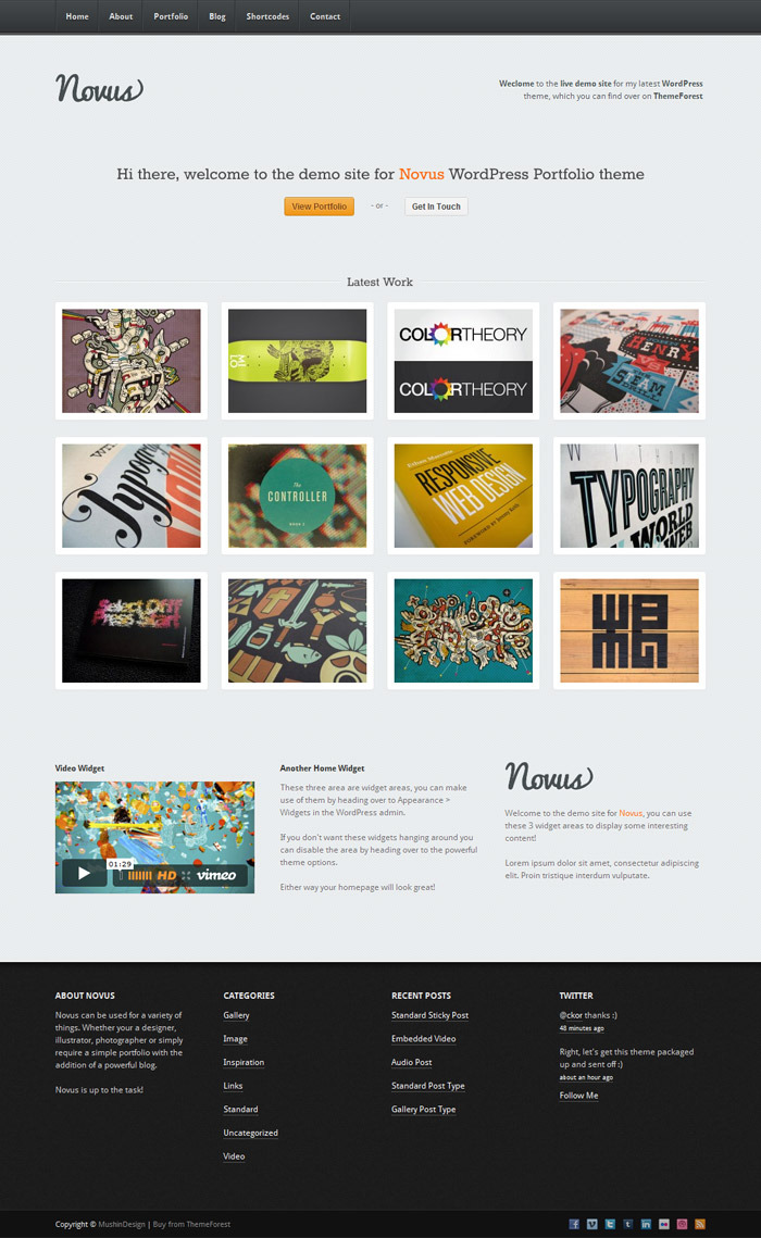 Novus - WordPress Portfolio - Home light alt