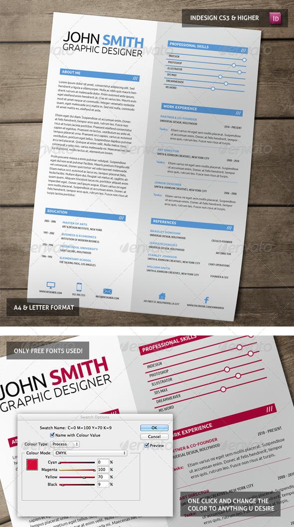 GraphicRiver Clean Representative Resume 5607102