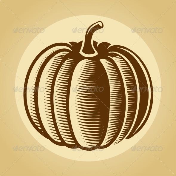 GraphicRiver Pumpkin Label in Retro Vintage Style 5609327