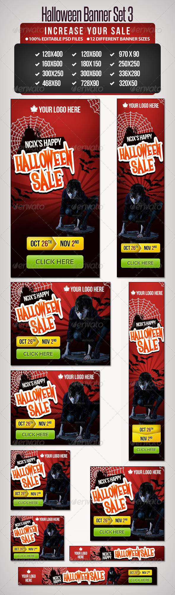 GraphicRiver Halloween Banner Set 3 12 Google Standard Sizes 5612318
