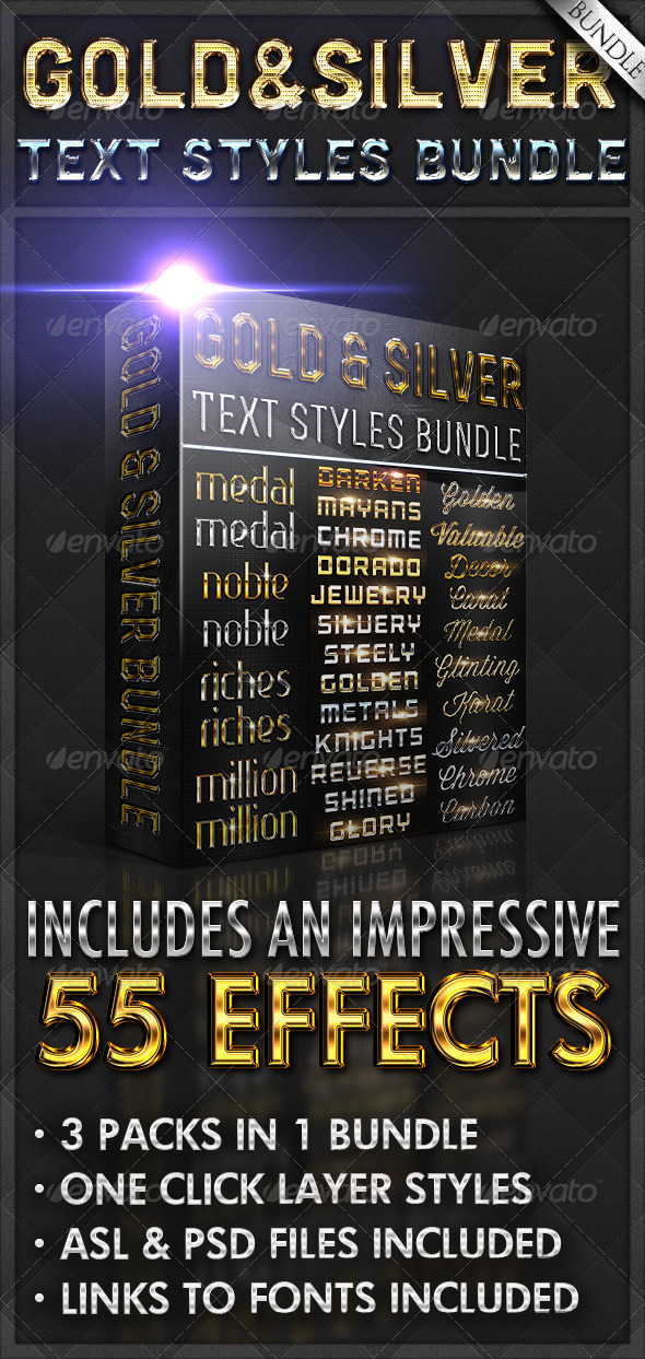 GraphicRiver Gold & Silver Text Styles Bundle 5613337