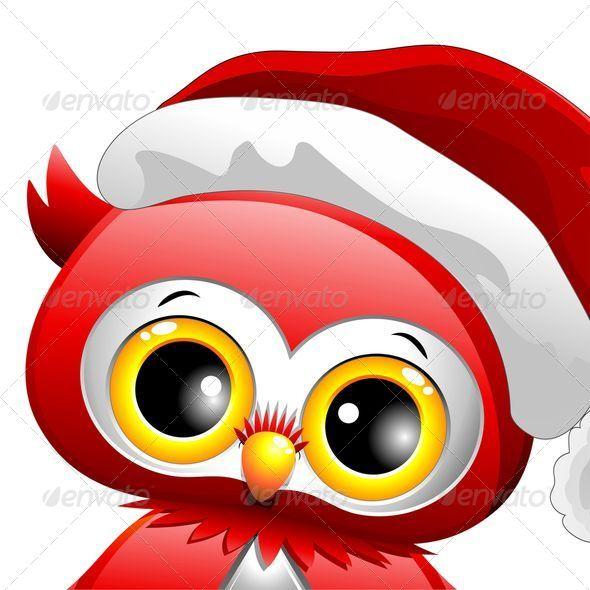GraphicRiver Baby Owl Christmas Santa 5613425