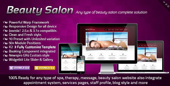 Beauty Salon Responsive Joomla Template - Health & Beauty Retail