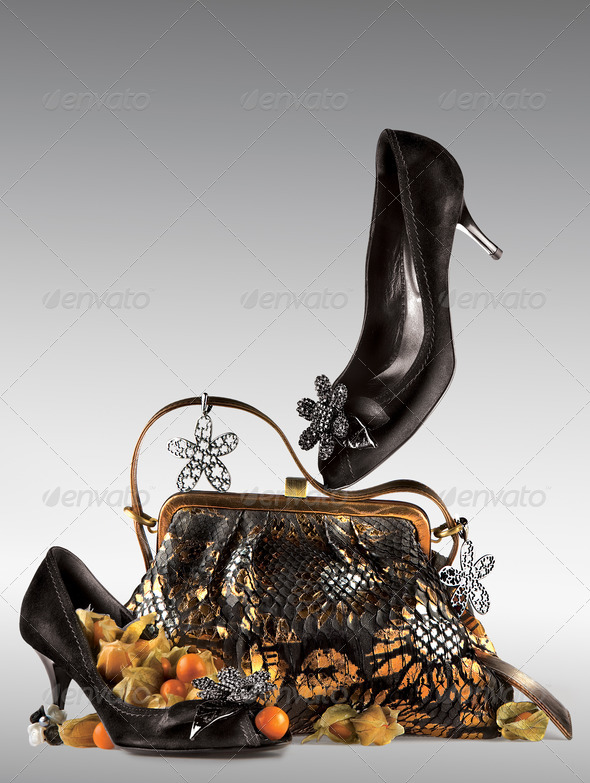Shoes and purse display. - Stock Photo - Images