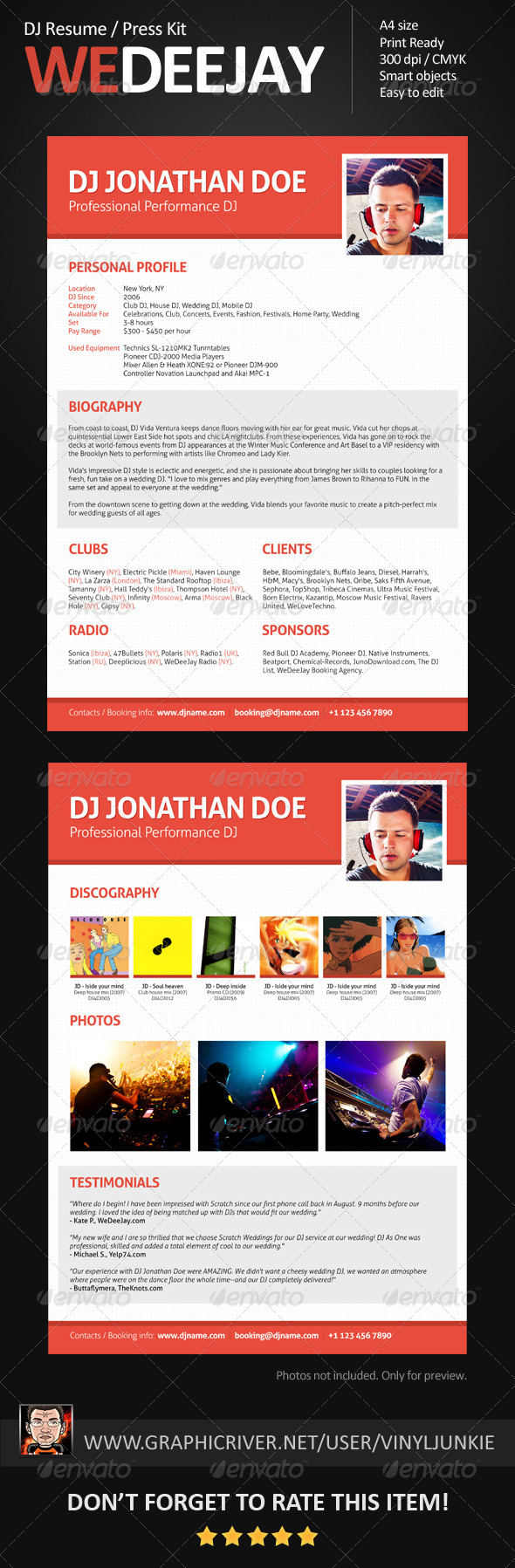 GraphicRiver WeDeeJay DJ Resume Press Kit 5616307