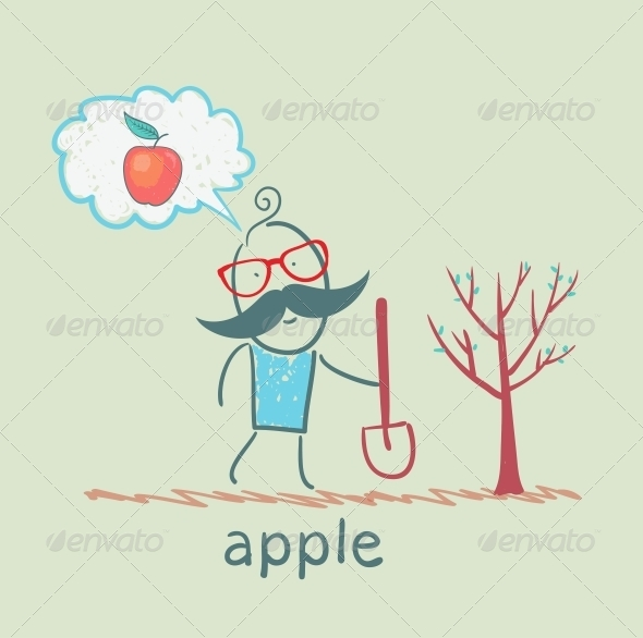 GraphicRiver Man Plants a Tree and Thinks About an Apple 5617251