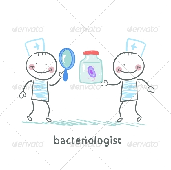 GraphicRiver Bacteriologist Looking Through a Magnifying Glass 5617436
