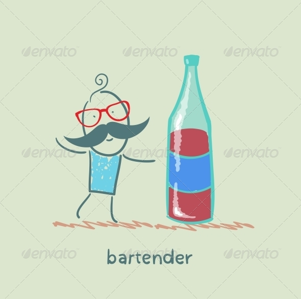 GraphicRiver Bartender with Bottle of Wine 5617547