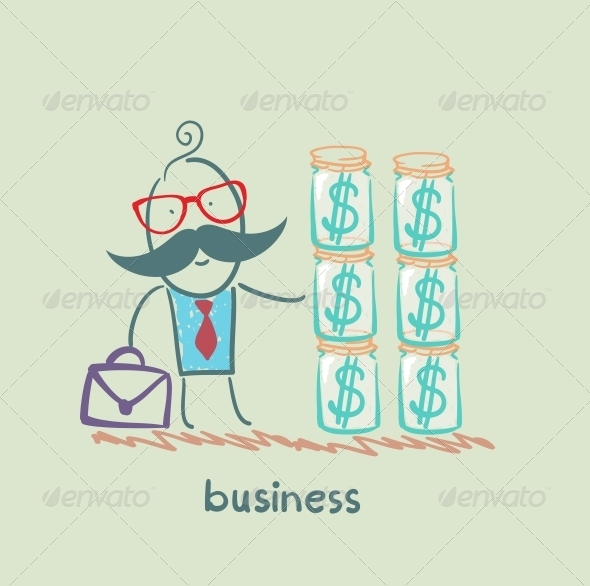 GraphicRiver Businessman Holding Dollars in the Bank 5617775